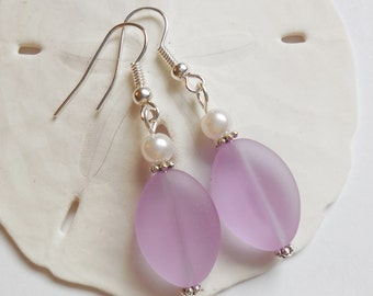 Light Purple Sea Glass Earrings, Sea Glass Jewelry, Seaglass Earrings, Seaglass Jewelry, Beach Glass, Beach Glass Earrings. Free US Ship