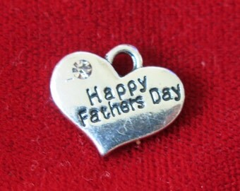 "BULK! 15pc ""Happy fathers day"" charms in antique silver style (BC753B)"