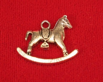 """10pc """"Rocking horse"""" charms in antique silver style (BC774)"""