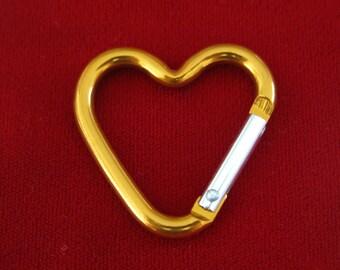 """BULK! 15pc """"heart carabiner"""" clip-ons in orange (BC775 -orange)"""