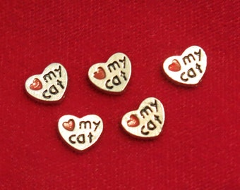 "5pc ""love my cat"" floating charms for memory lockets (LC5)"