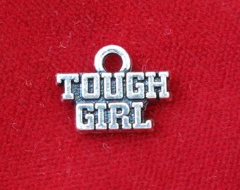 "BULK! 30pc ""tough girl"" charms in antique silver (BC796)"