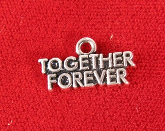"10pc ""Together forever"" charms in antique silver style (BC1018)"