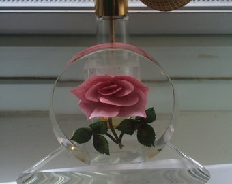 Vintage Lucite Perfume Atomizer With Encased Rose