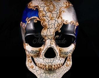 Mens Day of the Dead Mask, Dia de los Muertos Mask, Mans Skull Masquerade Mask for Halloween & Costumes