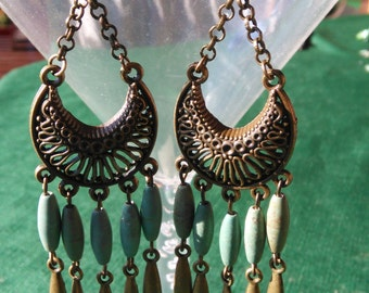 Earrings, Bohemian earrings, long earrings, dangle earrings, boho chic, bronze, turquoise