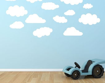 White Clouds Children's Bedroom Wall Stickers Decals (Set of 26)