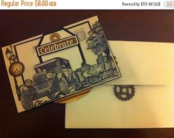 "ON SALE - Graphic 45 ""Proper Gentleman' Celebrate Mini Card"