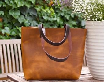 "Brown Leather bag. ""Sa Tuna"" leather Tote. Premium sturdy cowhide. Handmade"