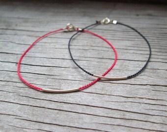 minimalist GOLD FILLED bar bracelet on a silk cord dainty slim skinny layering string thread thin