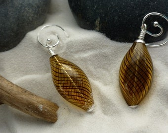 Blown Glass Spiral Earrings