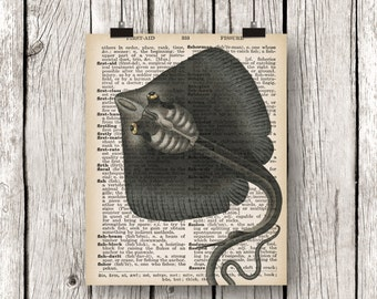 Stingray Wall Art Print, Dictionary Page Art, Book Print, Vintage Nautical Bathroom, Manta Ray, Rustic Nautical Decor, Natural History