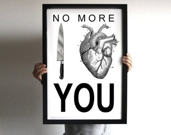 Posters no more I love you press violence against women posters black and white anatomical heart stop wrong loves women respect wall print