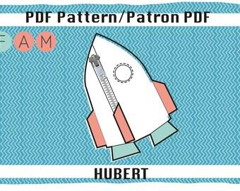 Hubert's rocket pencil case PDF pattern