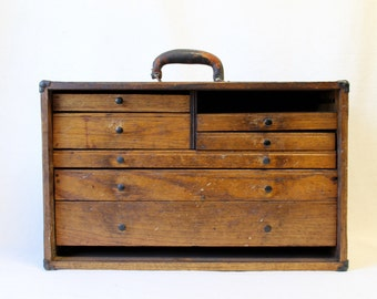 1930s Machinist Wood Tool Box, Small Parts Rustic Antique Tool Box