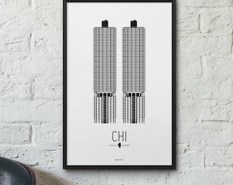 Chicago Icon City Print - Minimalist Poster - Marina City