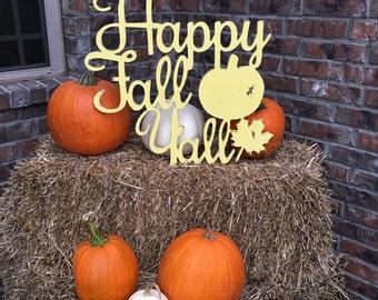 Happy Fall Y'all Wall Decoration - Wreath, Home Decor, Fall Decorations