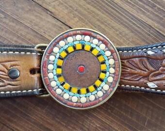 Mosaic Belt Buckle Rusty Center