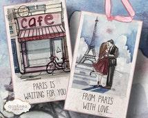 Paris printable cards / watercolor Paris / Gift tags, Jewelry Holders, Printable Download, Digital Collage Sheet / 2.5 x 4 digital cards
