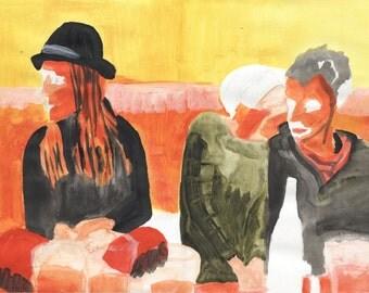 Original Mel Sheppard Painting, 'At The Pub'