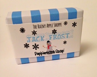 Peppermint soap, christmas soap, jack frost soap, handmade soap, white soap,peppermint oil soap, christmas gifts, stocking stuffers