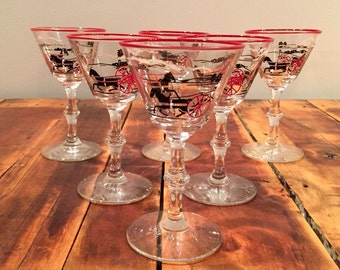 Horse and Buggy Cordial Glasses
