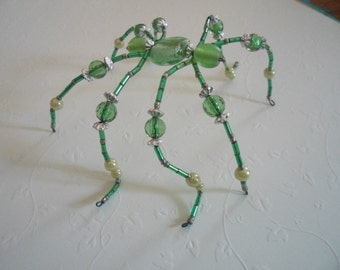 Hand Made Beaded Wire Spider Green and Silver Colors Cute Decorative Bendable