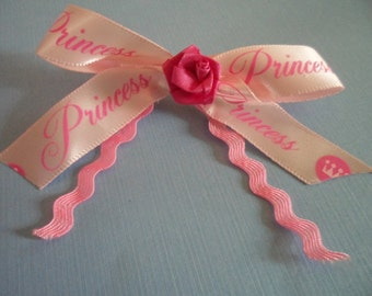 Hand Made Ribbon Barrett Hair Clip Pink Princess Rose Flower Cute Bow for Girl