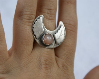 DISCOUNTED - Sterling Silver Pink Moonstone Crescent Ring Size 6