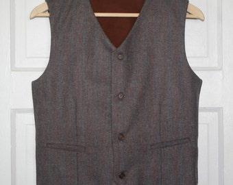 Boy -Dark brown herringbone pattern - Wool vest