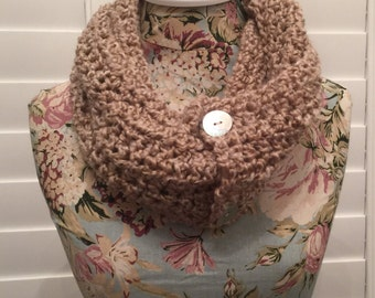 Tan Crocheted Cowl with Pearl Buttons