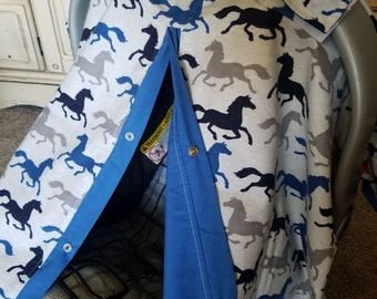 Carseat Canopy Flannel Cotton Wild Horses Ready to Ship