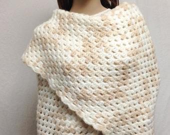 knit wrap, Large, knit shawl,Shawl,Wrap, Knit ,White,Tan