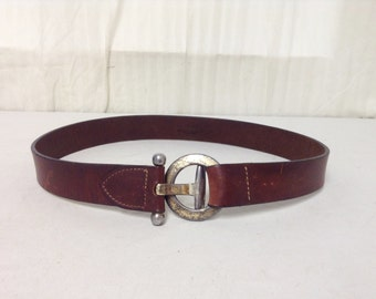 Free Ship Brown Leather Belt w/ Buckle