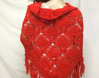 Red Knit Shawl ,Fringed Wrap