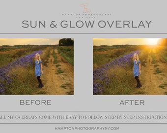 Sun glow photoshop overlay. Add sunshine to any image. Easy to follow step by step instructions.