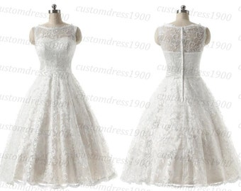 Short Lace Wedding Dress Handmade Lace Bridal Gowns White/Ivory Beach Wedding Dress Long Sleeve Short Beach Lace Wedding Dresses