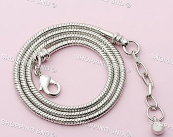 50% SALE 18KGP Silver Necklace Snake Chain Fit European Charm Beads Lobster Clasp Free Shipping Worldwide