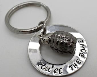 Bomb Key chain. Grenade Key chain, Personalized key chain, Hand stamped key chain. Key chain