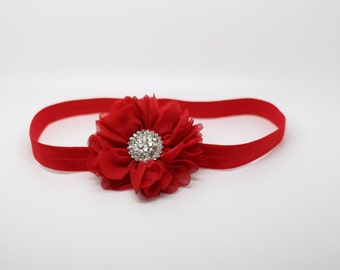 Red Headband, red Flower Girl Headband, red baby headband, Red Flower Headband, red Birthday Headband, red clip, red christmas headband