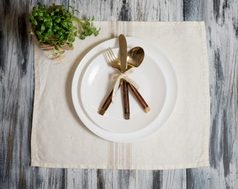Placemat White with Beige Stripes