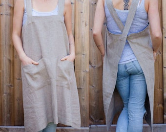 Stone Washed Linen, Full Apron, with crisscross straps and two deep pockets. A unique pinafore design in 5 colors!