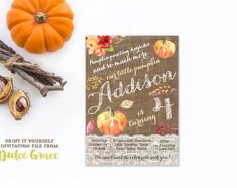 4th birthday pumpkin invitations, 4th birthday party invites, 4th birthday invitations girl, pumpkin birthday party girl, PRINT AT HOME