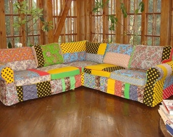 Modern Furniture Bespoke Art, Accent Sofa, Removable Cover, Accent Furniture,  Patchwork Sofa