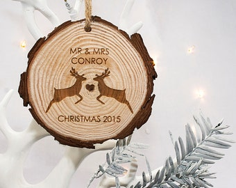 Newly Weds Christmas Tree Hanging Decoration - Engraved Christmas Decoration - Xmas - Christmas Ornament -Holiday Gift - FREE UK DELIVERY