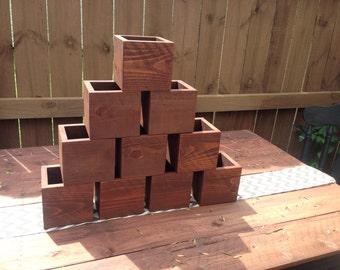 Set of Ten Rustic Wedding Centerpiece Flower Boxes, Table Centerpiece, Wood Flower Boxes
