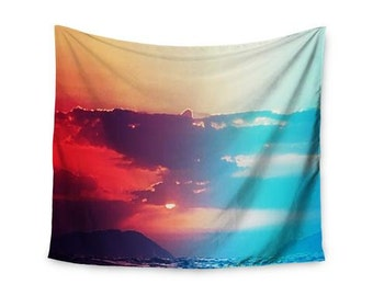 "Wall Tapestry - Orange Teal Sky Li Zamperini ""Summer"" LZ1042A Great Gift Idea!"