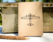 Airplane Pocket Notepad - Hand Stamped - USA Made - 100% Recycled Paper