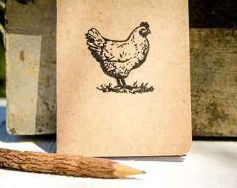 Chicken Pocket Notepad - Hand Stamped - USA Made - 100% Recycled Paper