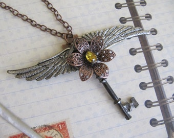 Steampunk, Steampunk Jewelry, Necklace, Winged Key, Gothic, Victorian, Steampunk Necklace, Womens Necklace